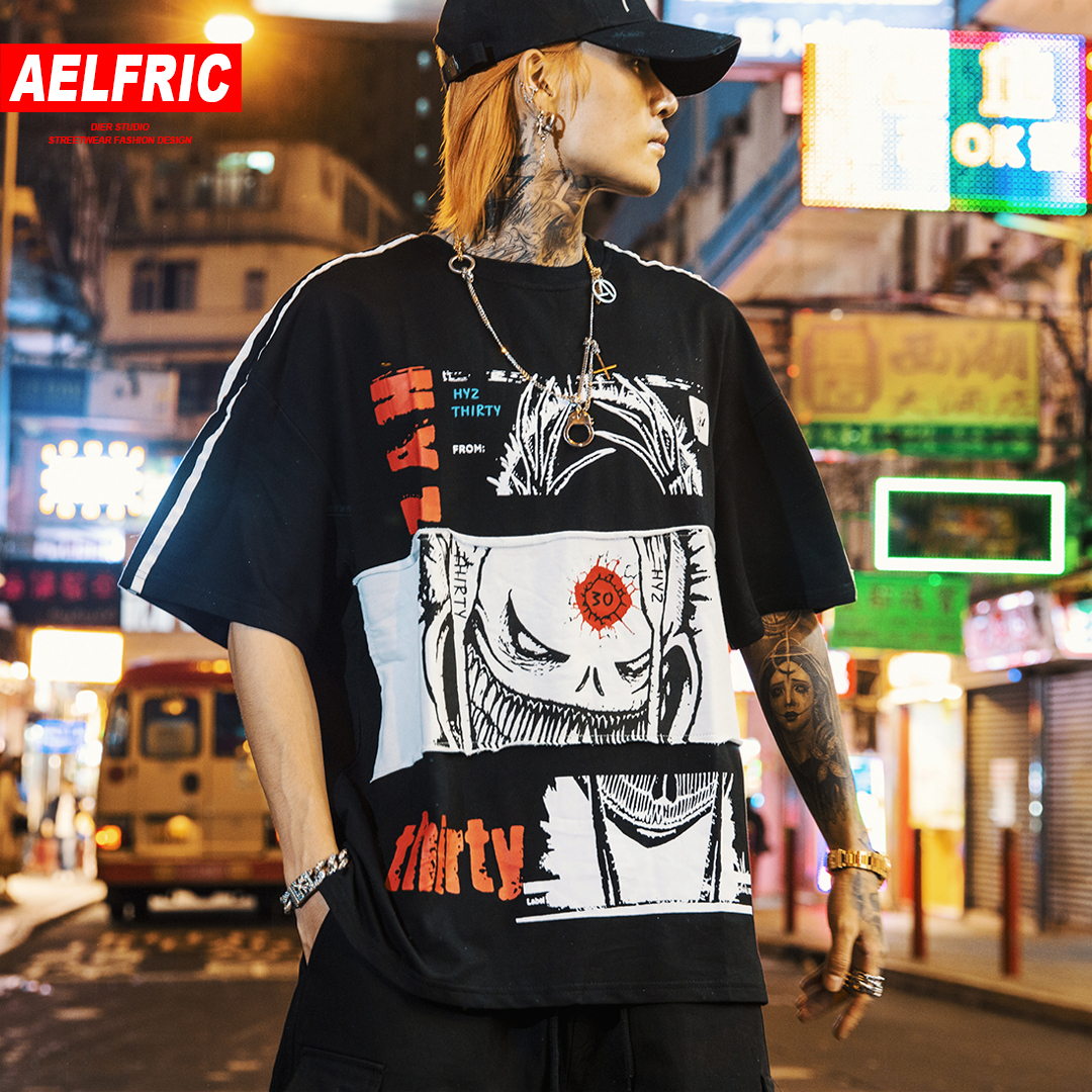 AELFRIC Japanese Style Letter Printed Streetwear   T     Shirts   Mens 2019 Harajuku Short Sleeve Tops Tees Male Hip Hop Casual   T     Shirts
