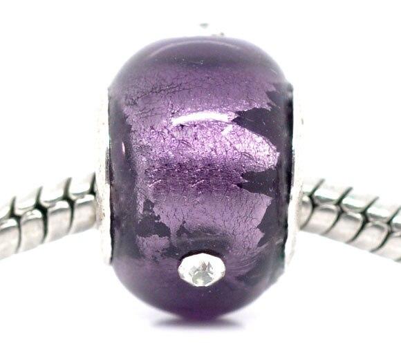 DoreenBeads Rhinestone Purple Foil Lampwork Glass Beads. Fit European Charm W/Silver color Core,14x10mm,10 PCs