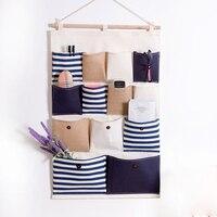 Cotton Wall Hanging Organizer Bag Multi Layer Holder Storage Bag Hanging Pockets Bags Makeup Rack Linen