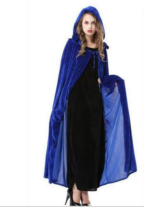 Blue Green Halloween cape Cloak Cosplay Costume Party Dress The Witch Elf