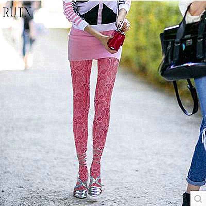 RUIN women s tights Pink petals printed pantyhose