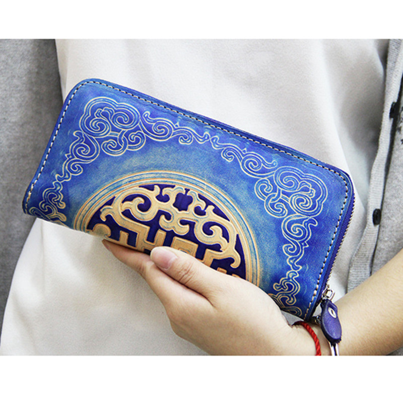 National Genuine Leather Wallets Carving Mongolia Pattern Bag Purses Women Long Clutch Vegetable Tanned Leather Wallet Gift vintage genuine leather wallets carving lion hasp bag purses women long clutch vegetable tanned leather wallet fathers day gift