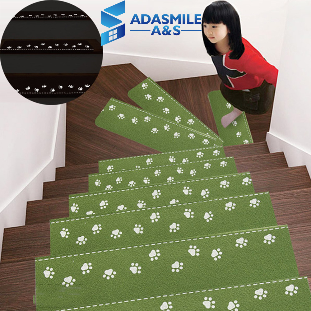 Modern Luminous Visual Stair Pads Anti-slip Easy Clean Floor Area Rug Carpets Green Warm Latex Stairs Decor Stairs Mat Carpets