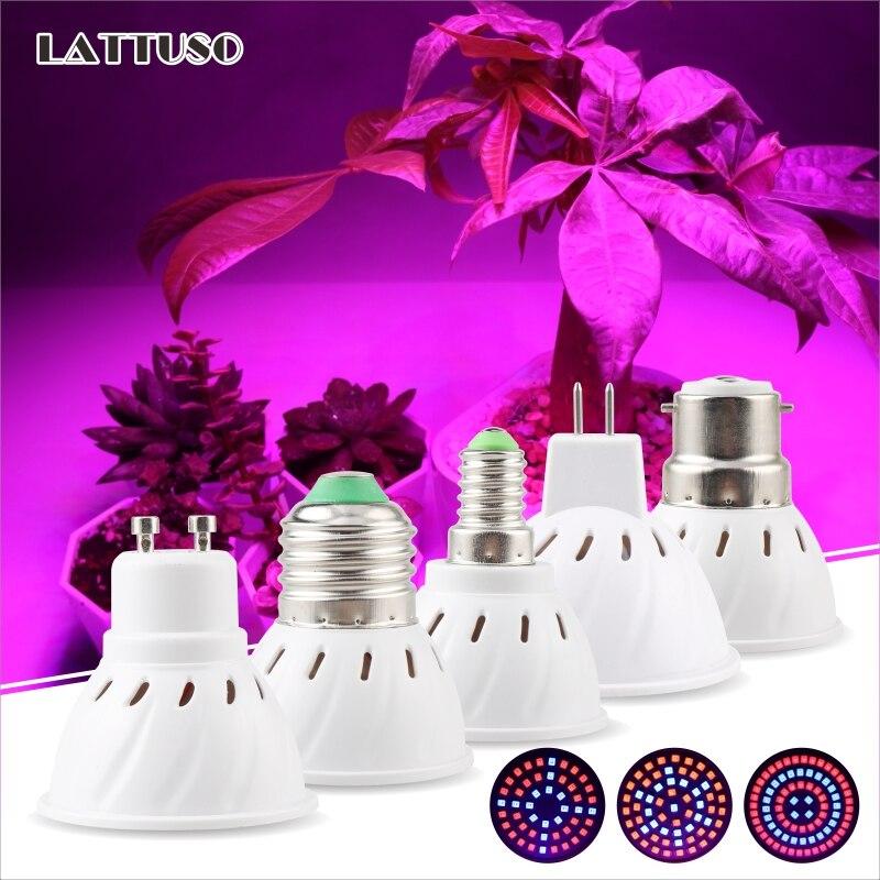 LED تنمو ضوء E14 E27 MR16 GU10 B22 شاشة ليد بطيف كامل لمبة النبات مصباح أحمر أزرق UV IR لزراعة خيمة الدفيئة تنمو الإضاءة