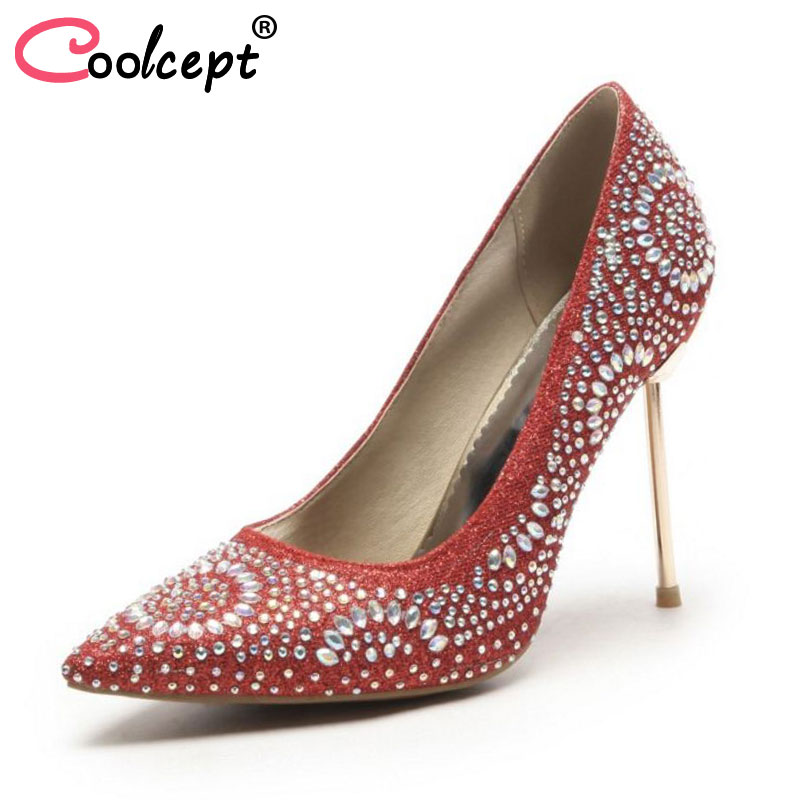 Coolcept Size 33-48 High Heels Shoes Women Pointed Toe Slip On Thin Heel Pumps Crystal Bling Women Sexy For Wedding Footwear brand shoes woman spring summer rainbow women pumps high heels fashion sexy slip on pointed toe thin heel party wedding shoes