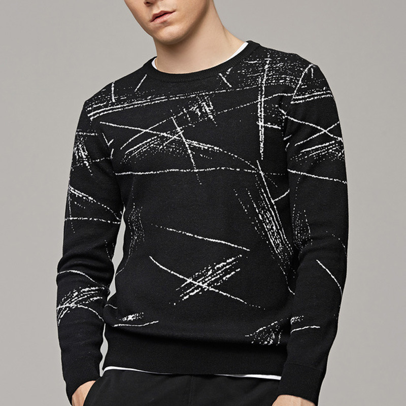 2018 Autumn new men's round neck jacquard sweater men's youth casual sweater male oversize y432-8