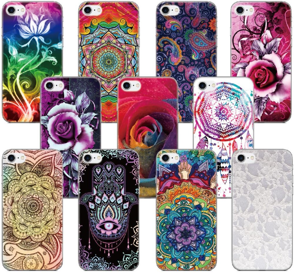 Mandala Rose Flower Cover For iphone X 4 4S 5 5S SE 5C 6 6S 7 8 Plus For iPod Touch 5 6 Hard Phone Case Capa Coque Shell Fundas