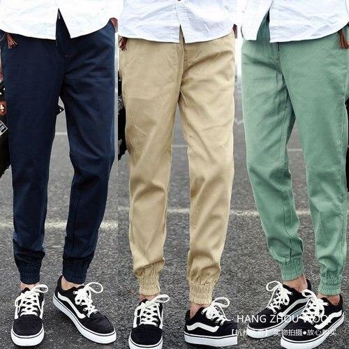 Men Pants Middle Waist New Arrivals Solid Color Cotton Fleece Pants Male Narrow Feet Pantalon Homme Men's Work Casual Pants 3XL
