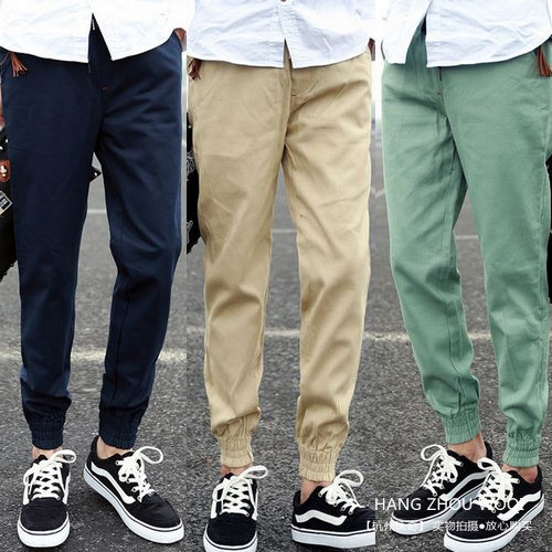 Men Pants Middle Waist New Arrivals Solid Color Cotton Fleece Pants Male Narrow Feet Pantalon Homme Mens Work Casual Pants 3XL