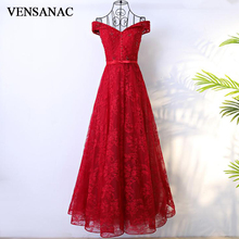 VENSANAC 2018 Crystal V Neck Button A Line Long Evening Dresses Vintage Lace Embroidery Party Bow Sash Prom Gowns