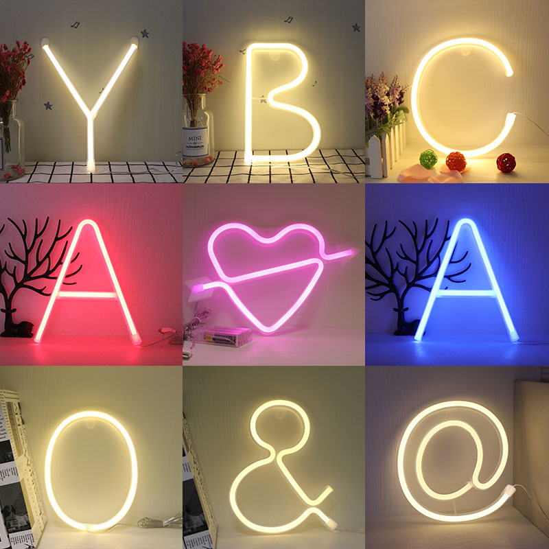 Night Light Neon Alphabet Lamp 26 Letters Number Color Change For Birthday Wedding Party Bedroom Wall Hanging Decor Light Night