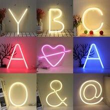 Ночник неоновый Алфавит лампа 26 букв номер цвет изменить на день рождения Свадебная вечеринка спальня настенный Декор свет ночь