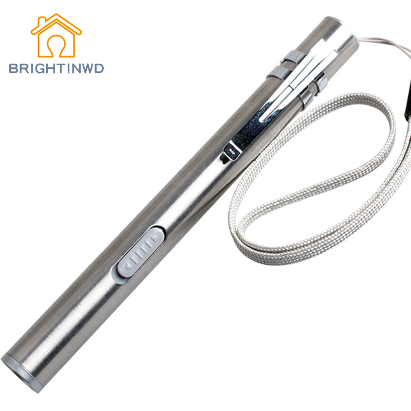 BRIGHTINWD Usb Mini Stainless Steel Rechargeable Flashlight + Bright Medical + Pencil Light Led Lithium Battery Flashlight