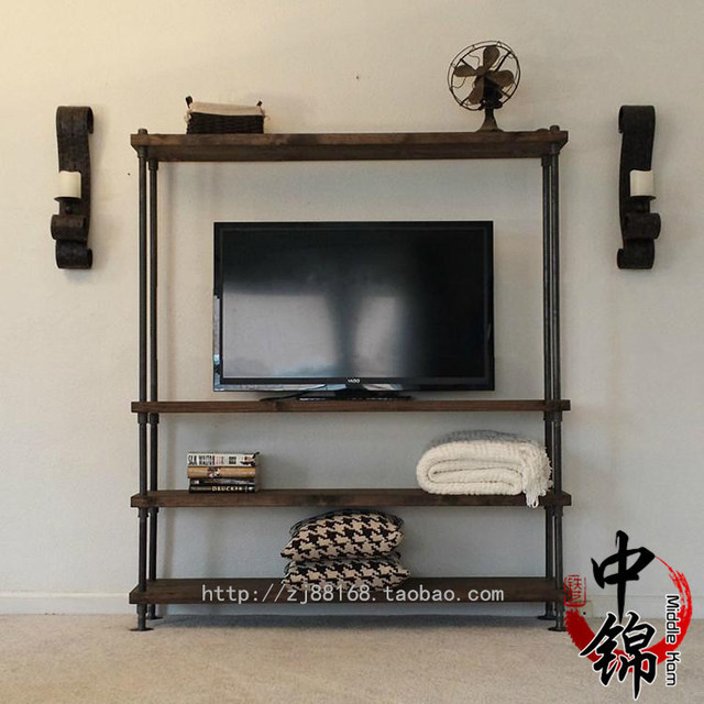 American Industrial Loft Style Water Wood TV Cabinet To Do The Old Living  Room Backdrop Decoration Hanging Storage Racks Part 97
