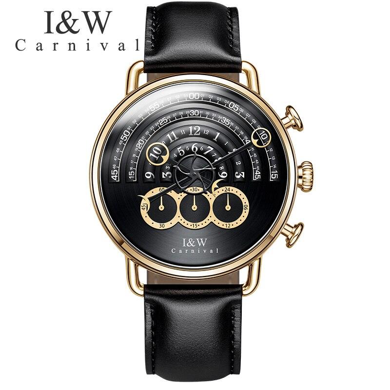 Carnival IW runway dial Unique design luxury brand men watches chronograph stop watch men clocks waterproof