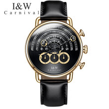 Carnival IW runway dial Unique design luxury brand men watches chronograph stop watch men clocks waterproof relogio reloj hombre(China)