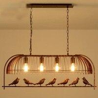 loft vintage retro industrial Iron Bird Cage Chandelier Cafe pub bar hanging light 110 240V