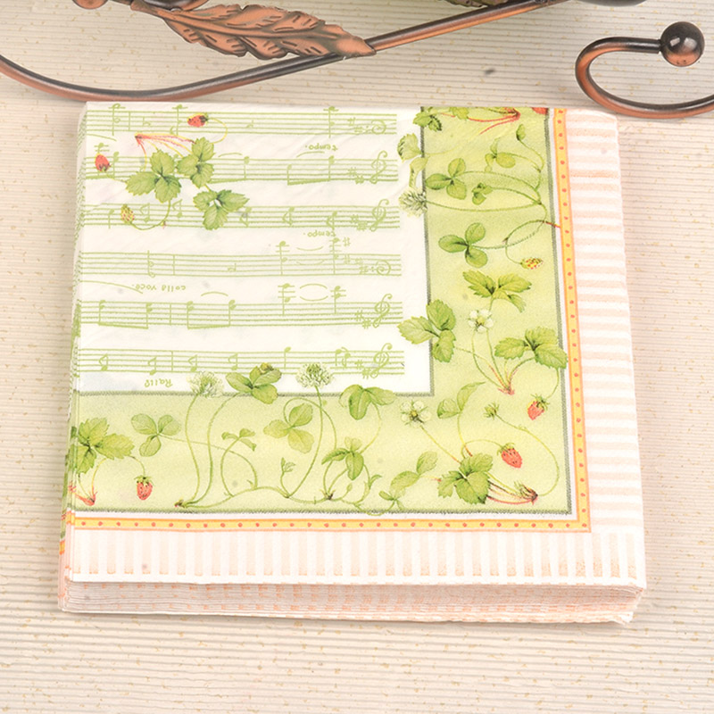 4x Paper Napkins for Party Decoupage Craft Orchid Light green