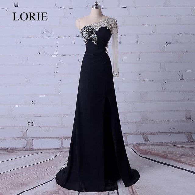 Black Evening Dress Party Long 2018 One Shoulder Crystals Prom Dresses  Beading Top Side Split Elegant Women Formal Party Dress bd5bc0900f23
