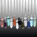 Hexagonal Column Quartz crystal necklace of Natural Stone Jade necklaces & pendants For Women of Crystal Gem Stone Necklaces
