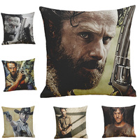 Free Shipping The Walking Dead Cotton Linen Pillow Case Chair Square Waist Pillow Sofa Car Cushion