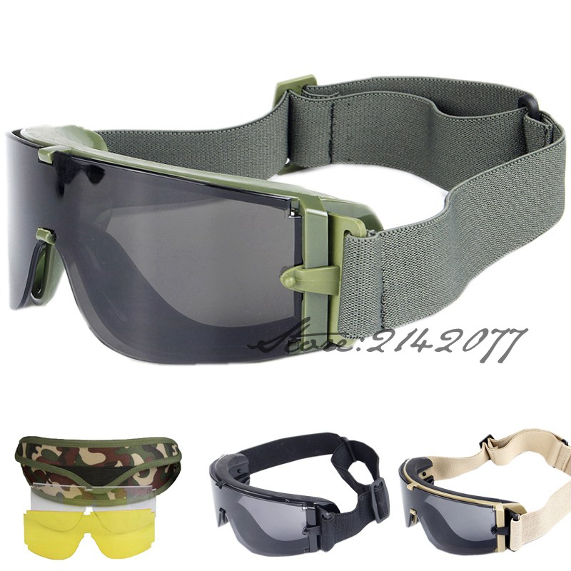 Grön Ballistisk Militär Armé NVG Tactical Glasses 3 Lins Windproof UV Protect Tactical Glasögon för Wargame Airsoft