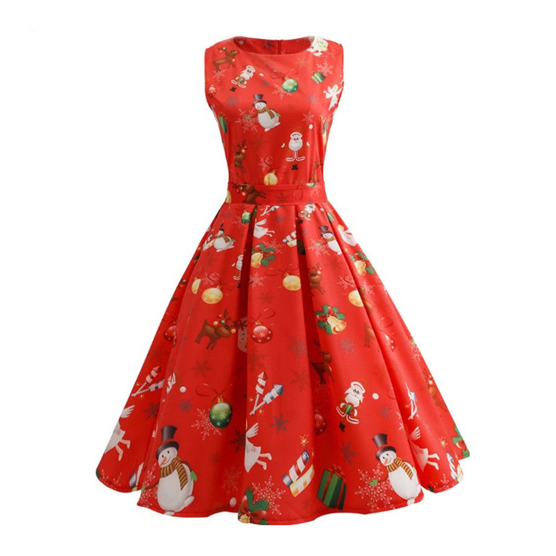 Robe Vintage Femme Party Christmas Dress Women Sleeveless Santa Snowman Printed 50S 60S Swing ...