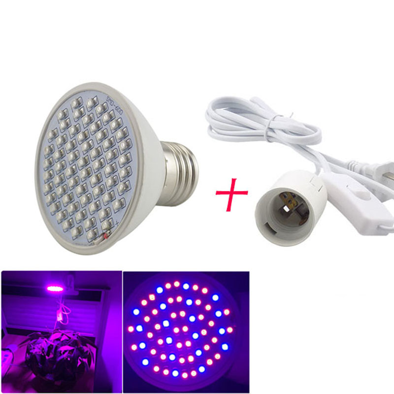 Indoor 60 Leds Led Grow Light Plant Growth Bulbs With 360 Degrees Flexible Lamp Holder Clip Lights Growing For Hydroponic