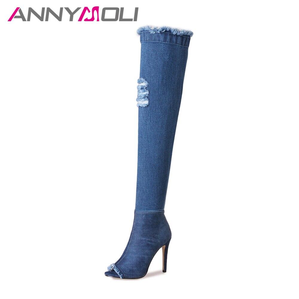 цена на ANNYMOLI Brand Design Denim Thigh High Boots Women Over the Knee Boots Cutout Peep Toe High Heel Long Boots Blue Big Size 33-43