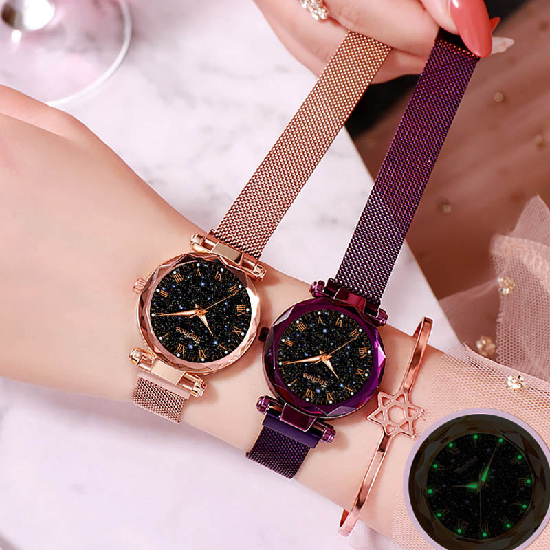 2019 panie zegarek na rękę Starry Sky magnetyczne kobiety oglądać Luminous luksusowe wodoodporna kobiet zegarek dla relogio feminino Reloj Mujer 6