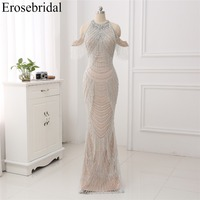 New Autumn 2018 Evening Dress Long Mermaid Beading Evening Gowns Luxury Beaded Design robe de soiree In Stock 48 Hours Shipping