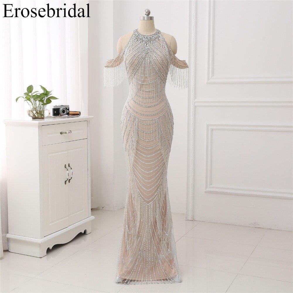 Nouveau automne 2018 robe de soirée longue sirène perles robes de soirée de luxe perlée conception robe de soirée en Stock 48 heures d'expédition