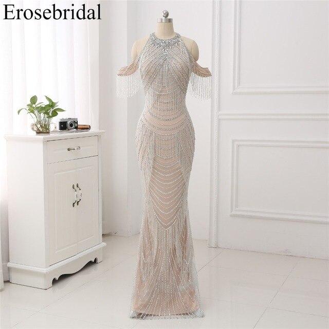 Novo Outono de 2019 Vestido de Noite Longo Sereia Beading Vestidos de Noite Frisado Luxo Projeto robe de soirée Em Estoque 48 Horas grátis