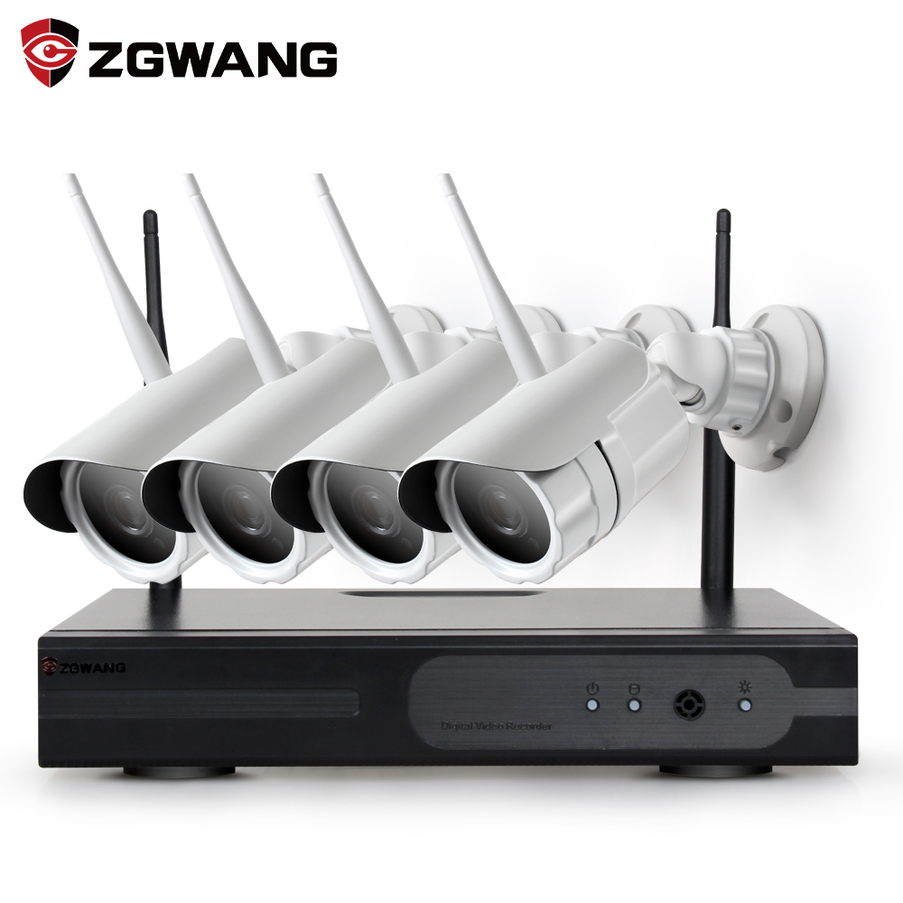 ZGWANG 4CH 1080P CCTV Wireless Surveillance System NVR Kit 2MP Outdoor Bullet Security Camera System IR Night Vision CCTV Kits