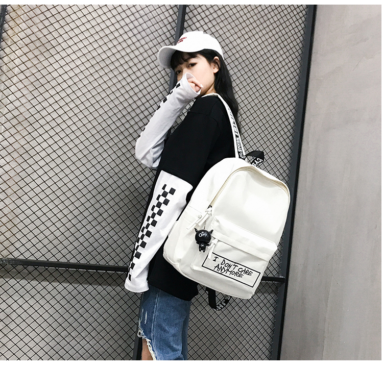 HTB1U 08aROD3KVjSZFFq6An9pXay 2019 New Backpack Fashion Canvas Women Backpack Doll Pendant Travel Women Shoulder Bag Harajuku Backpack Female Mochila Bagpack