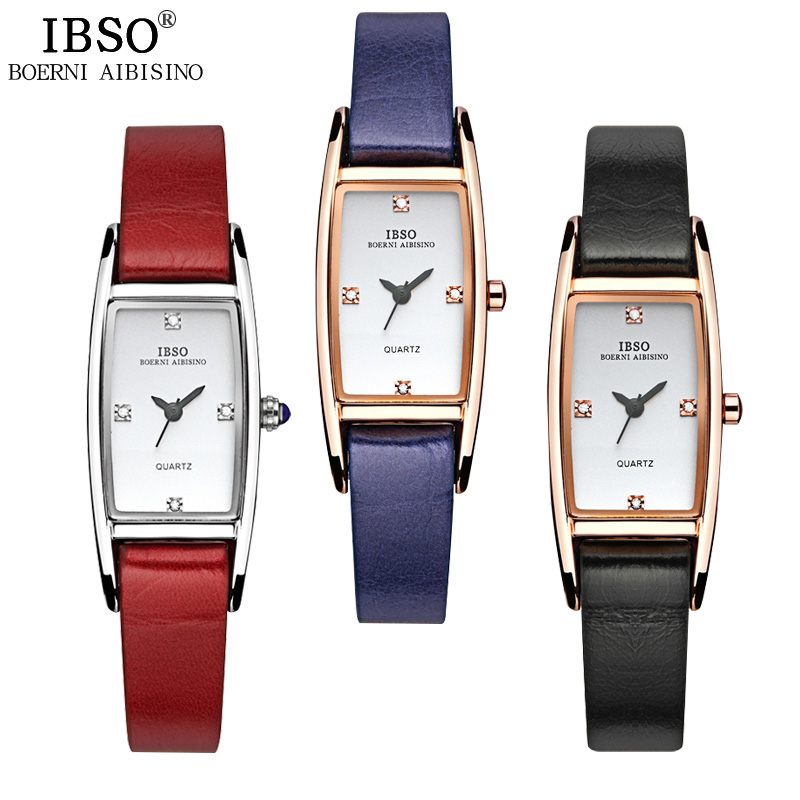 IBSO Women Watches 2018 Brand Genuine Leather Strap Quartz Watch Women Crystal Diamonds Ladies Watch Party Montre Femme in Women 39 s Watches from Watches