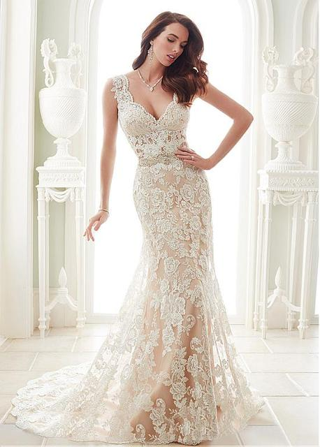 747bfb7fca76 Mermaid Wedding Dresses Wedding Gowns Marvelous Tulle V-neck Neckline Sheath  Wedding Dresses With Lace Appliques WED90300