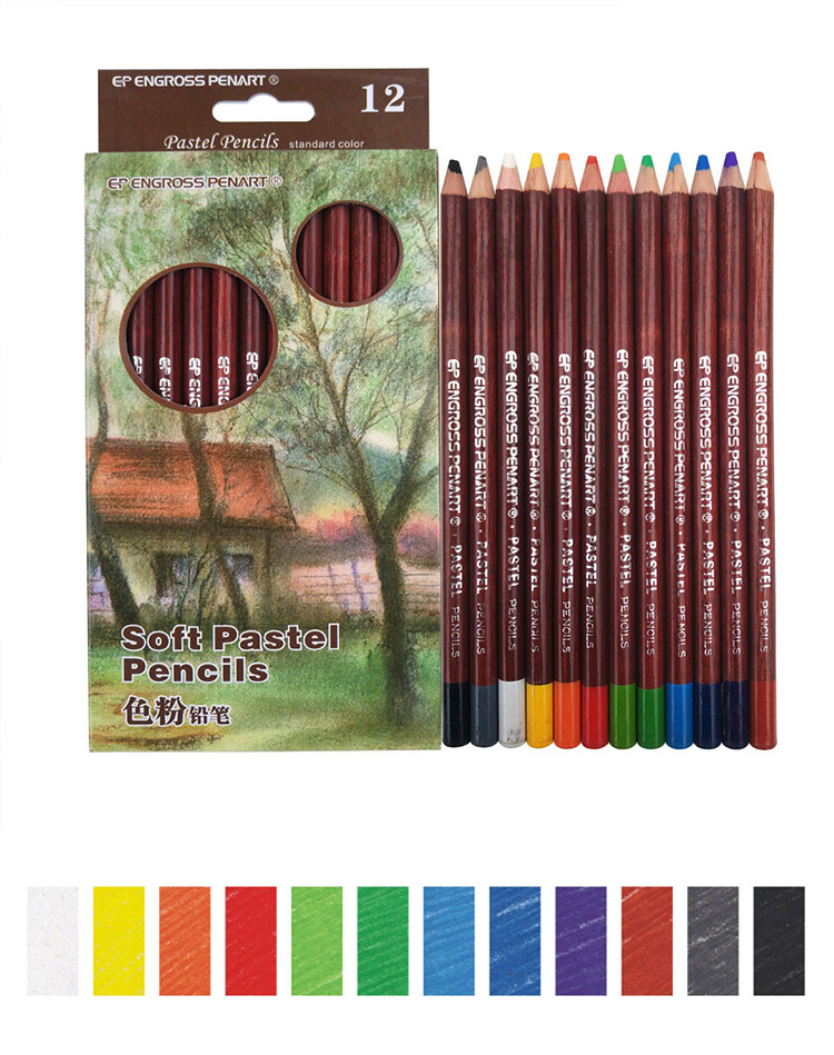 12 colors professional soft pastel pencils artist wooden drawing colored pencils skin tints pastel sketching school art supplies colored pencils aliexpress