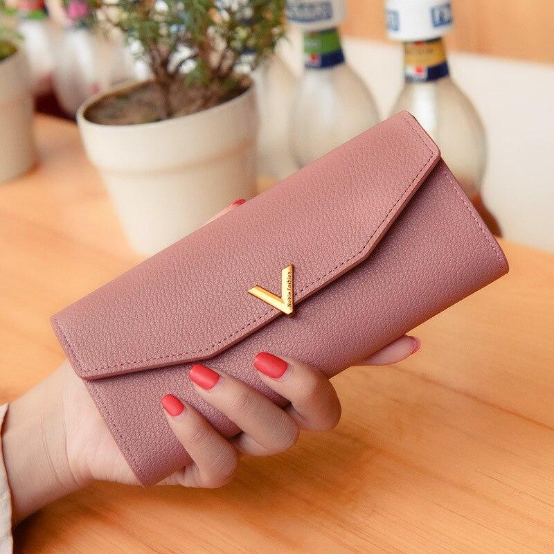 Letter V Hasp Designer Brand Women Wallet Cowhide PU Leather Flap Long Wallets Female Clutch Purse Money Bag Female Card Holder