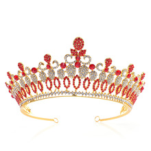 Gold Bridal Crown Crystal Wedding Hair Accessories Tiara Noble Rhinestone Headdress