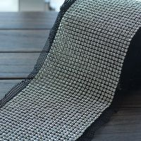 Free Shipping5yards Lot 24 Rows Clear Crystal Rhinestone Mesh Trimming 5mm Chain Silver Base Black Fabric