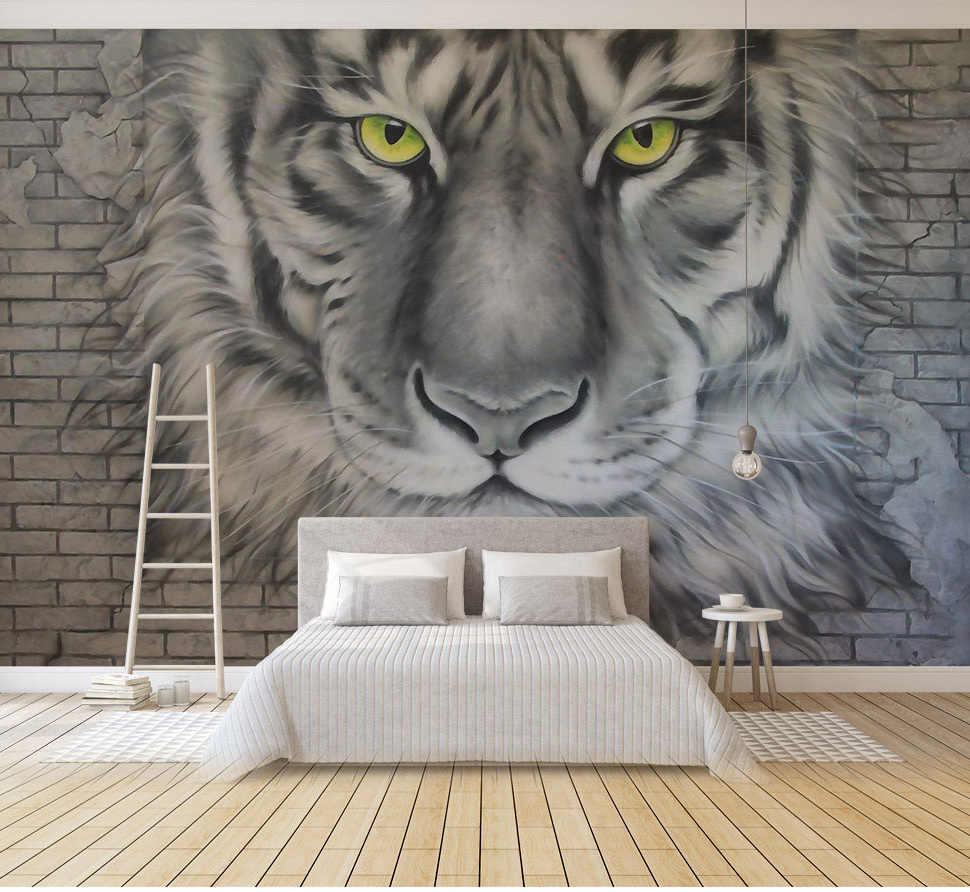 Bacaz 3d Bricks Angry Tiger Animal Wallpaper For Walls Sofa Background Bedroom 3d Bricks Mural Wall Paper 3d Animals Stickers