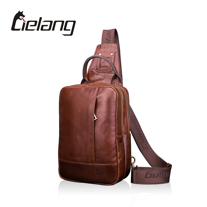 ФОТО LIELANG New Arrival Men's Chest Bag Genuine Leather Shoulder Bags For Men Business Casual Holiday Travel Cross Body Bags