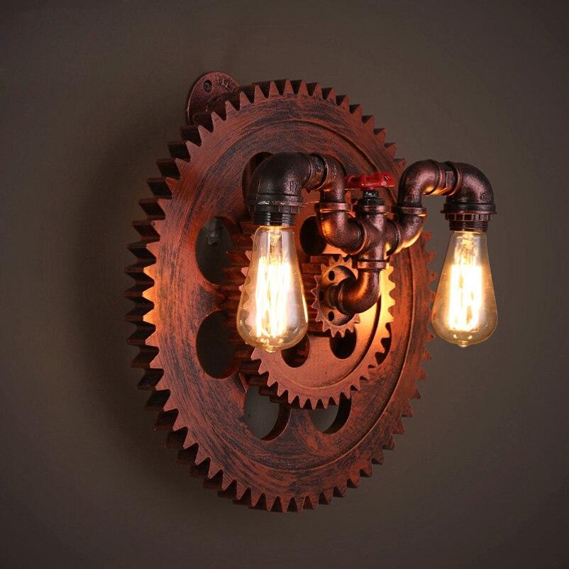 industria de madeira da roda e27 engrenagem luz parede da sala lampada de parede sotao varanda