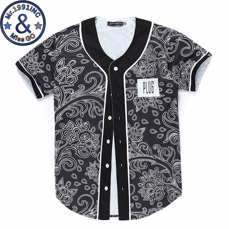 3D Paisley Stampa Baseball Camicia Da Uomo 2018 Brand New Estate Hip Hop Baseball Jersey Mens Slim Fit Manica Corta Top T Shirt Homme