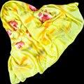 100% Шелковый Шарф Женщин Шарф Ручной Росписью Цветок Шелковый Шарф 2017 топ Шелковый Хиджаб Большой Площади Шелковый Шарф Горячая Роскошный Подарок для леди
