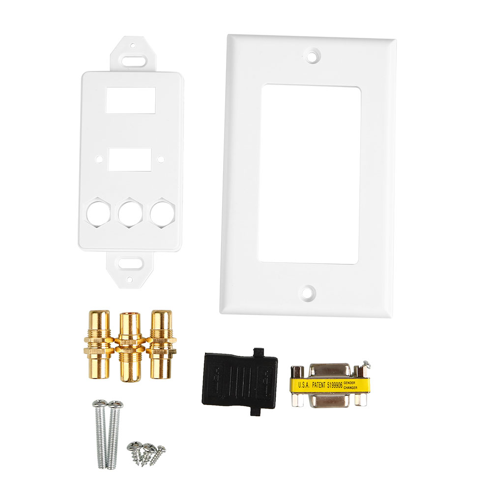 цена на HDMI VGA 3RCA AV Composite Audio Video HDTV Wall Face Plate Panel Socket Outlet
