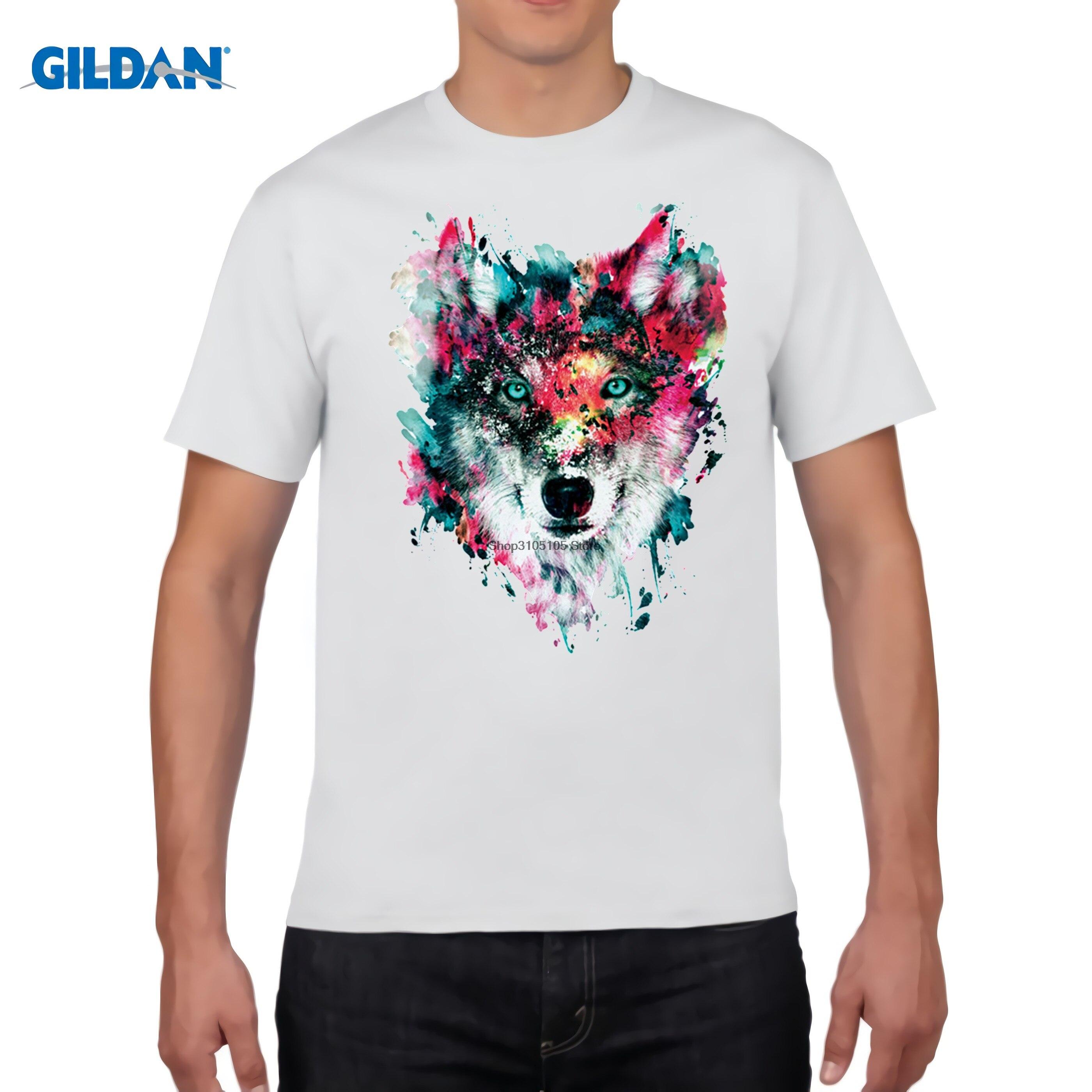 Design t shirt vistaprint - Gildan 2017 Summer Custom Owl Wolf Tiger Design T Shirt Men S Watercolor