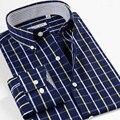 Inteligente Cinco Patrones Plaid Camisa de Los Hombres 2016 de Algodón de Manga Larga Hombres Camiseta Slim Fit Marca de Ropa Camisa Masculina 5XL 6XL