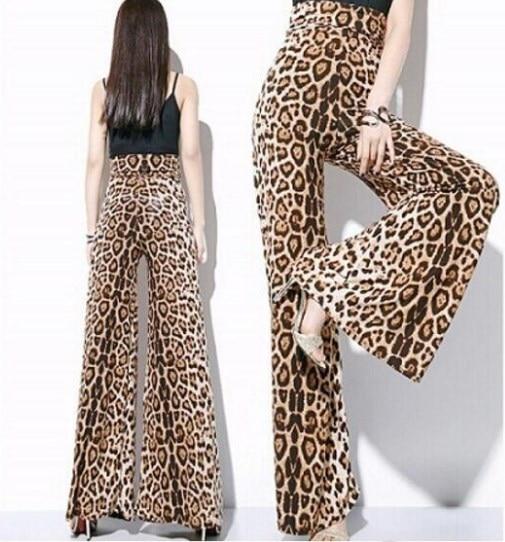 2019 summer high waist leopard print wide leg chiffon
